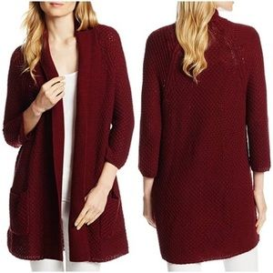 Lucky brand burgundy willow open knit cardigan M
